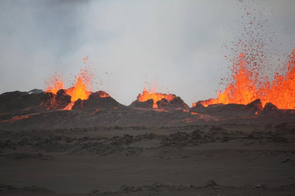 Eruption in Holuhraun lava field; Photo: Ármann Höskuldsson, University of Iceland twitter feed