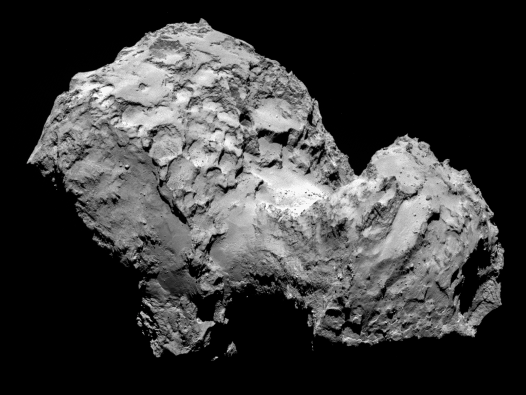 Comet 67P/Churyumov-Gerasimenko by Rosetta's OSIRIS narrow-angle camera on 3 August from a distance of 285 km. The image resolution is 5.3 metres/pixel. / Photo: ESA/Rosetta/MPS for OSIRIS Team MPS/UPD/LAM/IAA/SSO/INTA/UPM/DASP/IDA