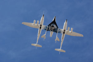 SpaceShipTwo being carried by WhiteKnightTwo before Friday's crash. Photo: Jeff Foust, CC BY 2.0