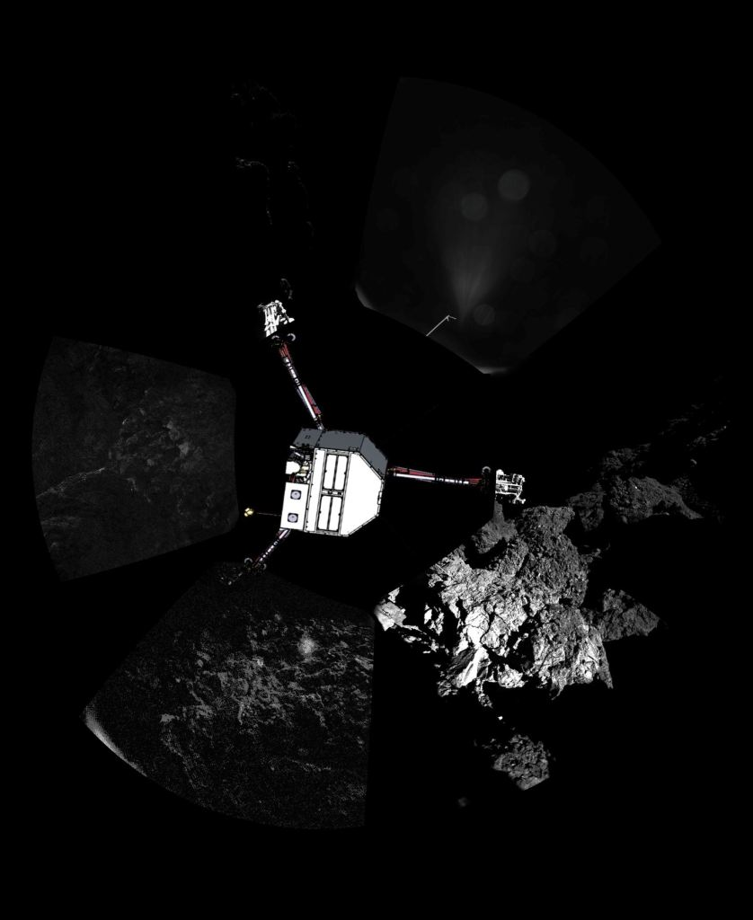 Rosetta inserted into a comet-surface panorama; Photo: ESA/Rosetta/Philae/CIVA