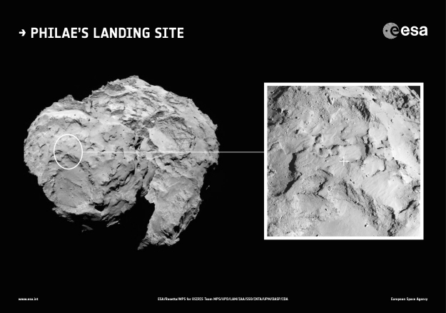 Philae's landing site in context; Photo: ESA/Rosetta/MPS for OSIRIS Team MPS/UPD/LAM/IAA/SSO/INTA/UPM/DASP/IDA