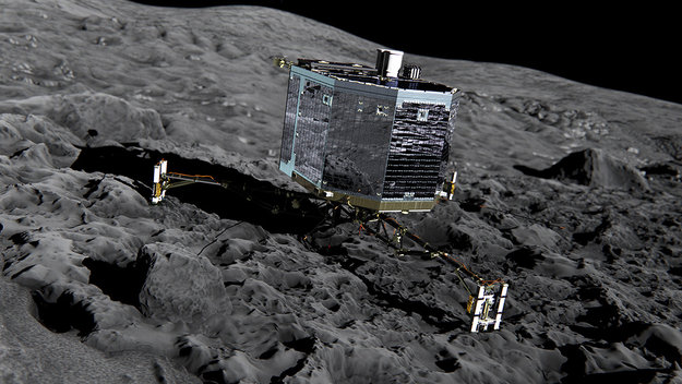 Artist's rendition of a perfect-world version of Philae on the comet; Photo: ESA