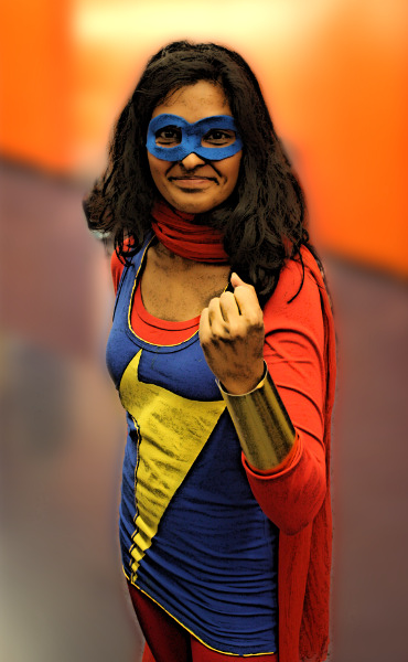 A pretty awesome Kamala Khan / Ms. Marvel at Montreal's 2014 Comiccon / Photo: Flickr user Pikawil CC BY 2.0 with modifications
