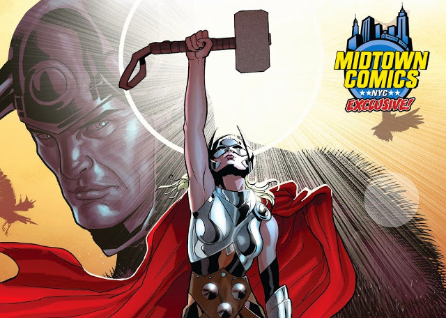 Thor Vol. 4 No.1, Midtown Comics NYCC variant cover detail; Photo: Marvel, Russel Dauterman, Midtown Comics