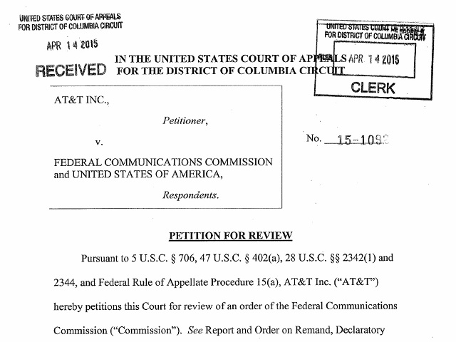 Source: AT&T Petition vs. FCC