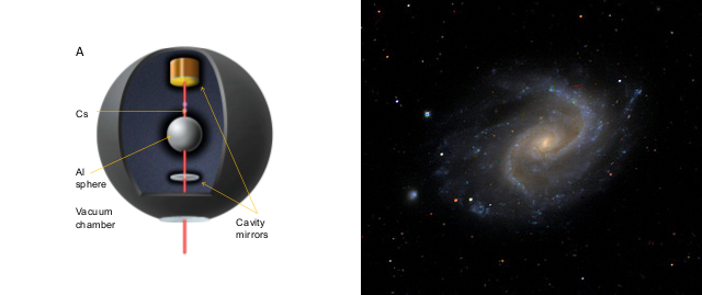 Looking for dark energy at home vs. looking for it in space; photos: Paul Hamilton et al. (left), UCL Mathematical and Physical Science -- Dark Energy Survey (right)