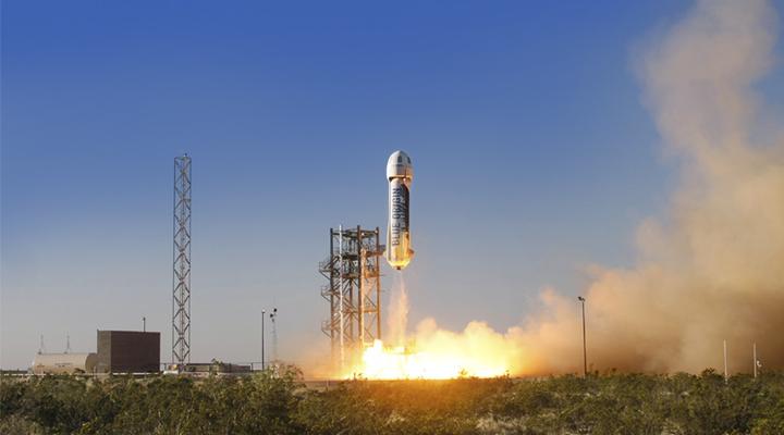 Blue Origin's New Shepard lifting off. Photo: Blue Origin