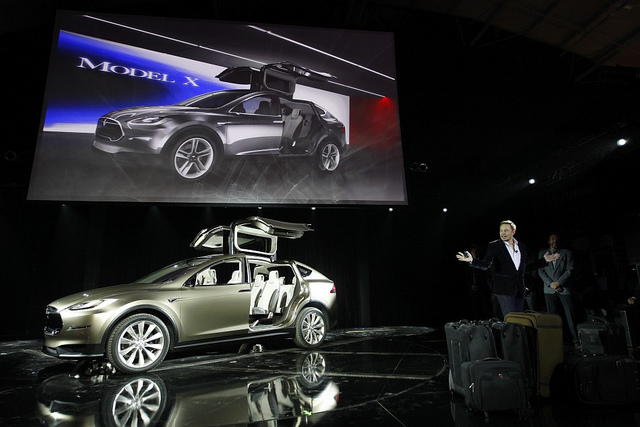 Elon Musk unveiling the Model X in Geneva in 2012; Photo: NRMA Motoring and Service, CC BY 2.0