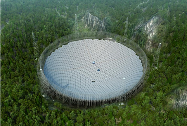 The Five-hundred-meter Aperture Spherical Telescope (in CG because it's not built yet); Photo: Chinese Academy of Sciences / JPL via arxiv.org