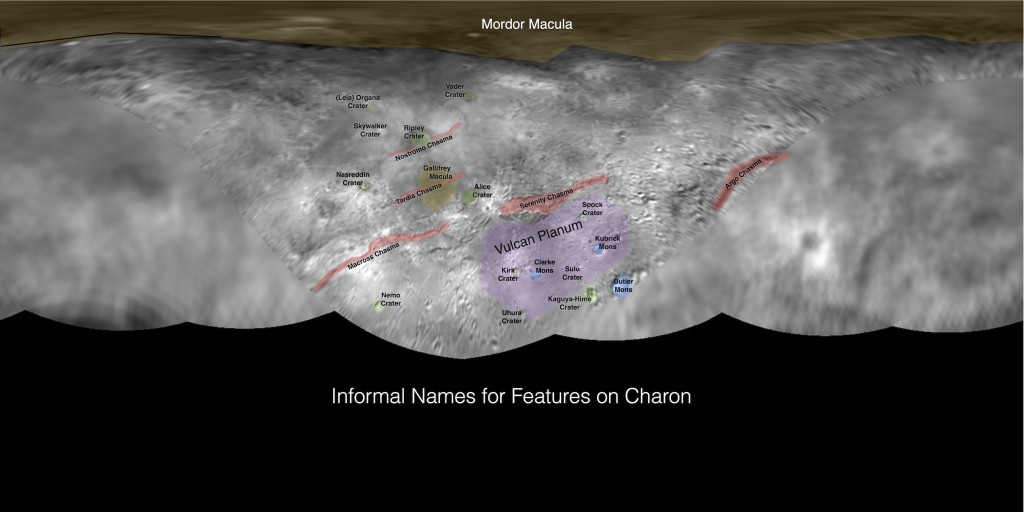 A map of place-names on Charon; Photo: NASA/JHUAPL/SWRI