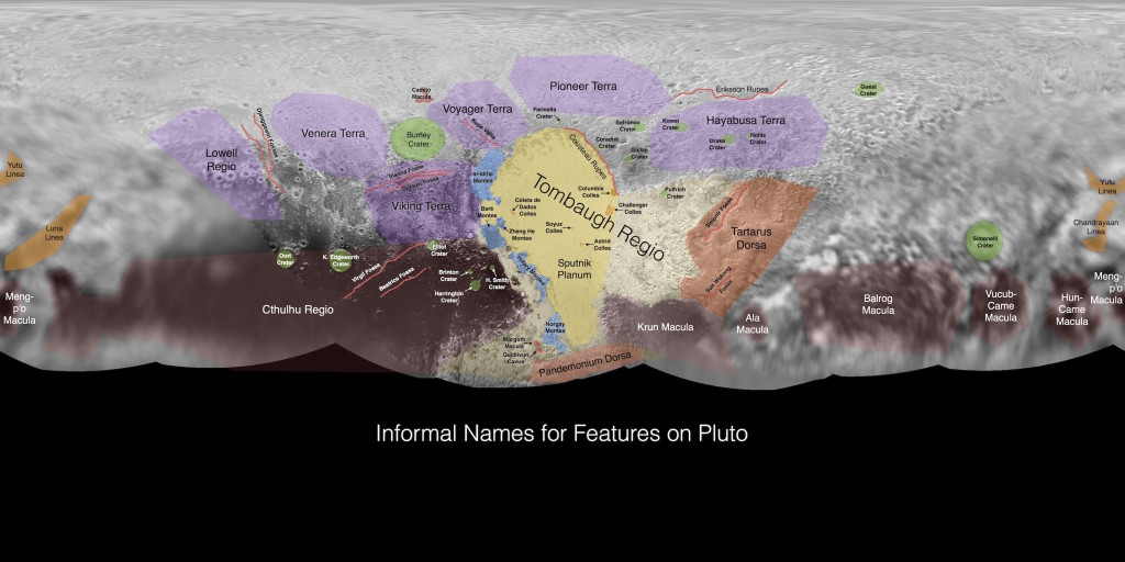 An anotated map of proposed place-names on Pluto; Photo: NASA/JHUAPL/SWRI