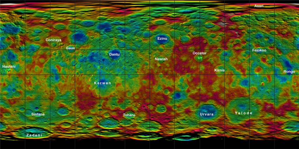 A list of new names for Ceres / Photo: NASA/JPL-Caltech/UCLA/MPS/DLR/IDA