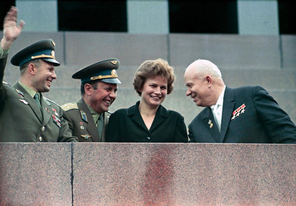 """""""RIAN archive 159271 Nikita Khrushchev, Valentina Tereshkova, Pavel Popovich and Yury Gagarin at Lenin Mausoleum"""" by RIA Novosti archive, image #159271 / V. Malyshev / CC-BY-SA 3.0. Licensed under CC BY-SA 3.0 via Commons."""