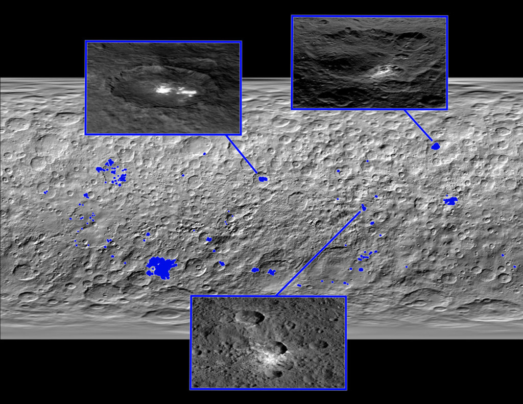 Locations of the bright spots on Ceres | Photo: NASA/JPL-Caltech/UCLA/MPS/DLR/IDA