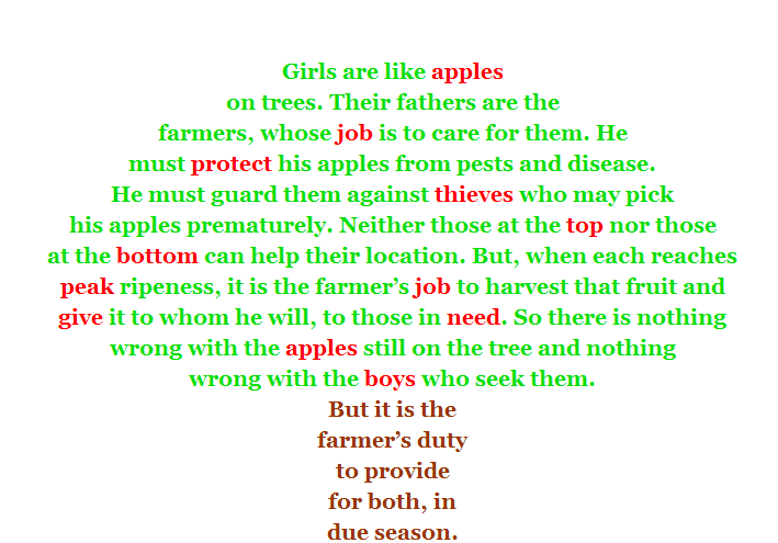 Girls are objects, owned by their fathers and given to boys.