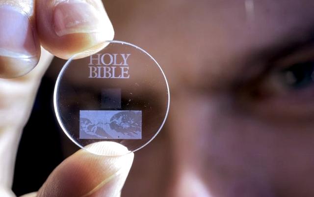 The Holy Bible on quartz | Photo: University of Southampton