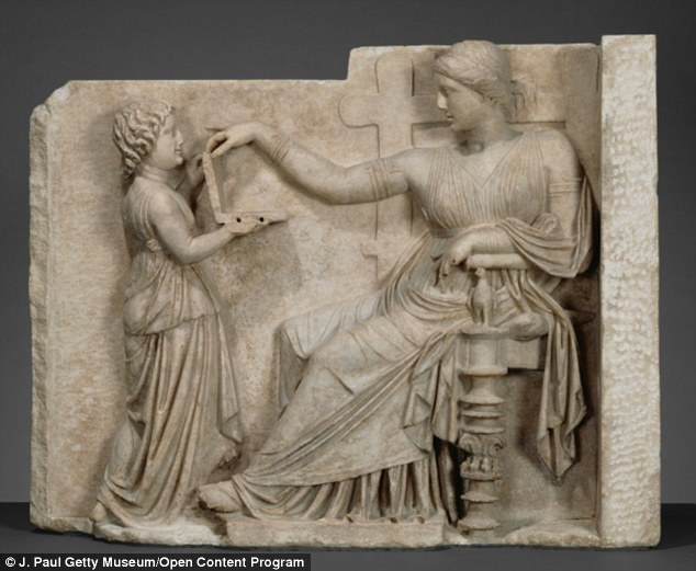 """Grave Naiskos of an Enthroned Woman with an Attendant"""