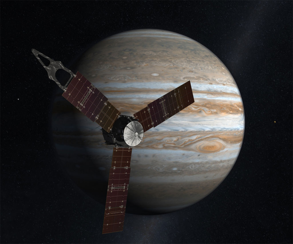 Artist's rendering of Juno in front of Jupiter | Image: NASA/JPL