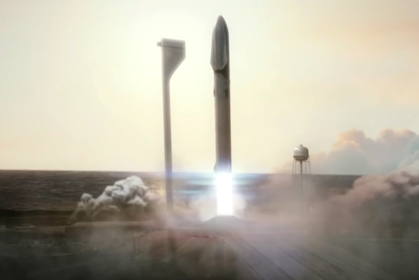 The BFR with an MCT launching | Image: SpaceX