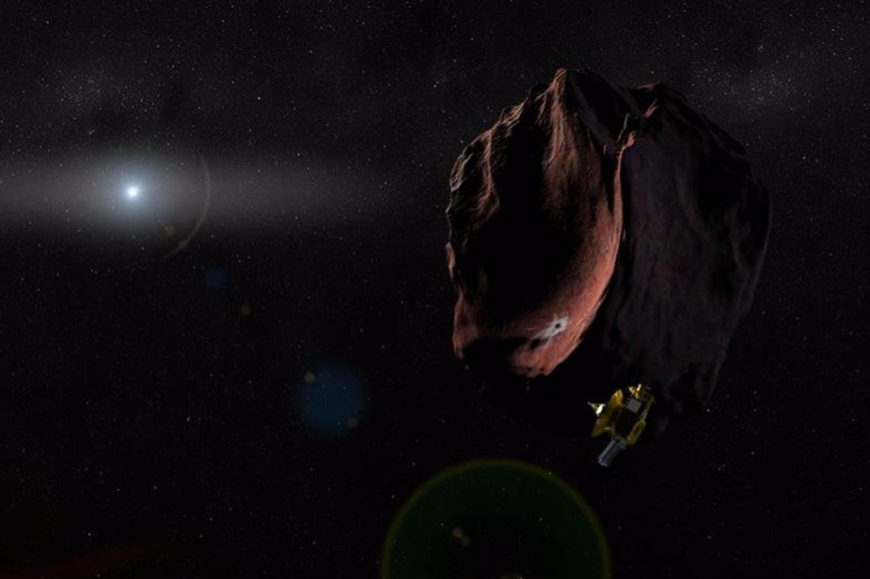 (Artist's Impression) New Horizons at 2014 MU69 | Image: NASA/JHUAPL/SWRI