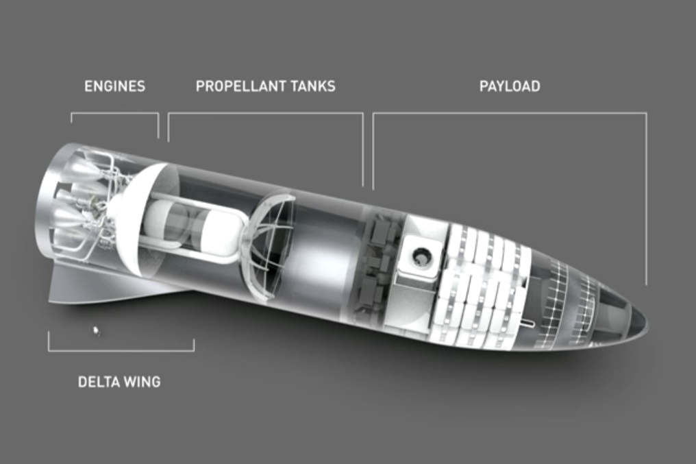 A cross-section diagram of the spaceship that SpaceX will use to get to Mars, including rocket components, payload area, and small delta-wing structures near the rear.